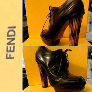 Fendi Black Leather Loafersx Platform Boots/Bootie